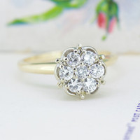 1960s Diamond Halo Engagement Ring   Vintage Cluster Ring   14k Yellow Gold Ethical Diamond Ring   Mixed Metal Engagement Ring   Size 5.75