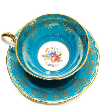 ON SALE Aynsley Tea Cup, Turquoise, Teal, Red Rose, Gold Lace, Wide Rim, 1930s