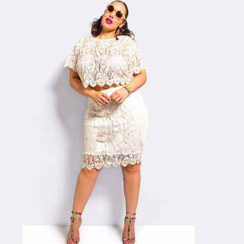 White Floral Lace Short Sleeve Copped Top and Midi Skirt