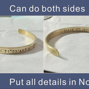 College graduation gift for girls, college graduation gift for her, Personalized jewelry, Coordinates bracelet, Latitude & Longitude bangle