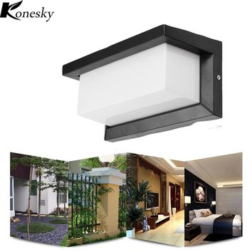 Konesky 15W Outdoor Lighting Waterproof  Modern LED Wall Lamps Aluminum Courtyard Garden Corridor Porch Lights AC85-265V