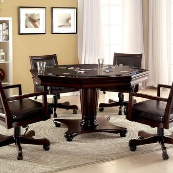 Furniture of america CM-GM341 5 pc raelle collection dark cherry finish wood man cave poker, gaming, dining table set with swivel chairs