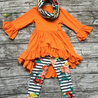 Preorder- Orange Ruffle Hi/lo top Fall Floral 3 piece scarf  set