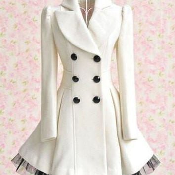 Double-breasted Beam Waist Voile Stitching Plicated Ruffles Coat