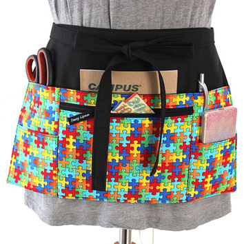 teacher apron - autism awareness - pocket apron - half apron - back to school - preschool apron - nursery teacher kindergarten teacher gift