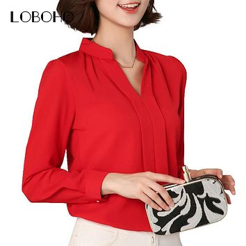 Black Red White Chiffon Blouse Women Autumn  Long Sleeve Elegant Ladies Office Shirts Korean Fashion Casual Slim Women Tops