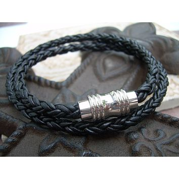 Mens Leather Bracelet, Double Wrap, Natural Black Braided, with Stainless Steel Magnetic Clasp