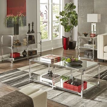 Cyrus Clear Chrome Corner Mirrored Shelf Accent Tables