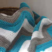 Chevron Turquoise Grey White Baby Blanket Afghan Crib Size Keepsake Heirloom Baby Shower Gift Photo Prop