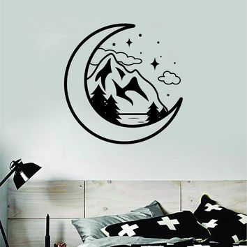 Moon Mountains Wall Decal Sticker Bedroom Room Art Vinyl Beautiful Inspirational Adventure Explore Wanderlust Travel Teen Kids Baby Nursery
