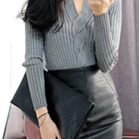 V Neck Long Sleeve Cut Out Pure Color Sweater