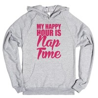 My Happy Hour Is Nap Time-Unisex Heather Grey Hoodie