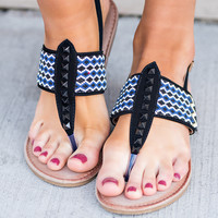 Spring Vacation Beaded Detail Suede T Strap Sandal (Black)