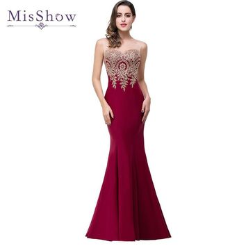 Real Photo 2017 Mermaid Sheer Neck Burgundy Satin Cheap Long Evening Dresses Robe De Soiree Formal Evening Gown Party Dress