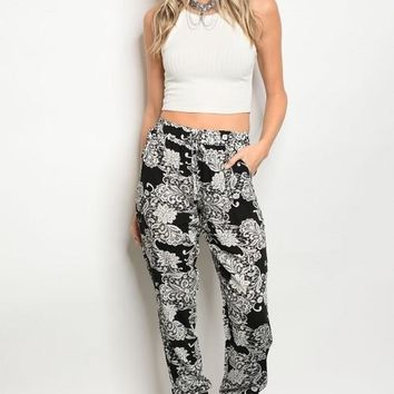 Women Fashion Sheer Black Print Jogger Harem Pants Relaxed Fit Trousers Pockets