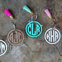 Monogrammed Key Chain, Circle Monogram Keychain, Personalized Keychain