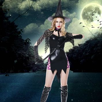 One Set Halloween Costumes For Women Magic Witch Cosplay Games Western Festive Carnival Party Uniforms Suits Witch's Hat Dress