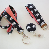 Lanyard ID Badge Holder - retractable Reel - Key FOB Wristlet - elephant coral