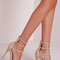 Missguided - Four Strap Barely There Sandals Nude