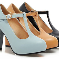 Womens Super Cute Thick Heel Platform Lolita Mary Jane Candy Office Pump Shoes For Lady T-Strap High Heel Shoes Alternative Measures