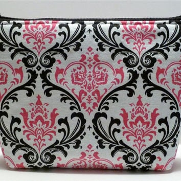 Pink and Black Damask Padded Cosmetic Bag/Zippered Pouch