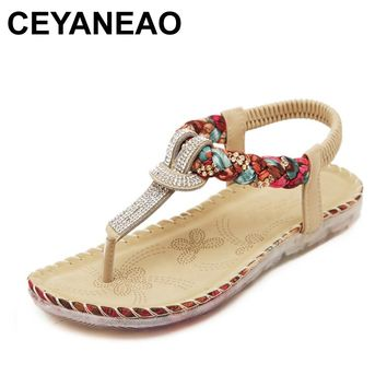 CEYANEAO Bohemian Ladies Thong Sandals Diamond Beads Slippers Ankle Slingback Flats Flip Flops Shoes Summer Beach Sandals YDT538