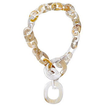 Marycrafts Womens Chunky Handmade Buffalo Horn Fashion Long Chain Necklaces White Amber