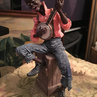 Banjo Man statue, The Early Americans Duncan Royale Ebony Series, 1990 Banjo Man, Limited Edition Sculpture, Banjo Man Sculpture