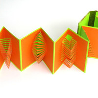 POP UP ACCORDION Book w/Hard Cover Original Hand Cut 6 Origamic Architecture Sculptures Home Decor In Orange and Neon Green OOaK