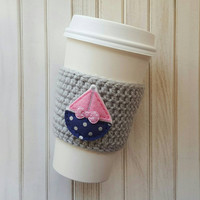 Coffee Cozy - Nurses Week - Polka Dots - Teacher Gift - Nautical Gift -  Coffee Sleeve - Sail Boat - Pink and Navy - Bridesmaids Gift