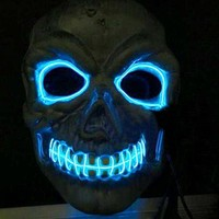 VONE05O Novelties LED Mask Skull Skeleton Fancy Scary Halloween Costume Neon Rave 2016
