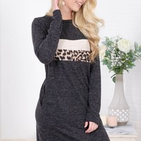Leopard Block Pocket Grey Dress