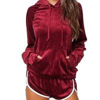 Women's Burgundy/Red 2 Piece Long Sleeve Velour Hoodie and Matching Shorts Tracksuit Lounge Wear Set