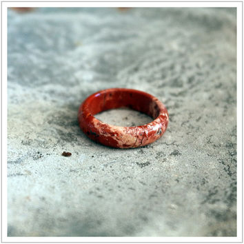 Red Jasper / Gemstone / Ring / Stone / Band / Women's Ring / Red Stone / Carved / Q Size / 8 1/4 / Diam 18mm