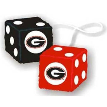 Georgia Bulldogs NCAA 3 Car Fuzzy Dice