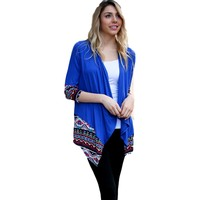 Solid knit Cardigan with printed Aztec Edge, Royal (Size L)