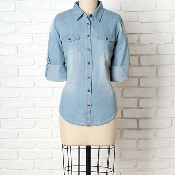 Abilene Chambray Button-Up Top-FINAL SALE