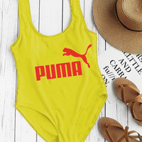 PUMA Swimming Women's Sexy Vest Type Bikini Swimsuit B-ZDY-AK Yellow
