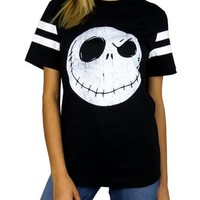 Nightmare Before Christmas Womens Skellington Head Varsity Football Tee Black