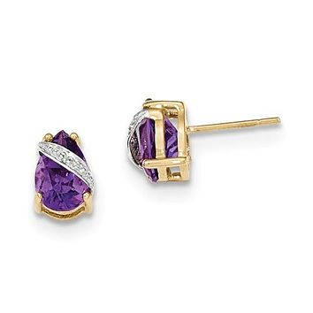 14K Yellow Gold Natural Gemstone diamond Accent Post Earrings