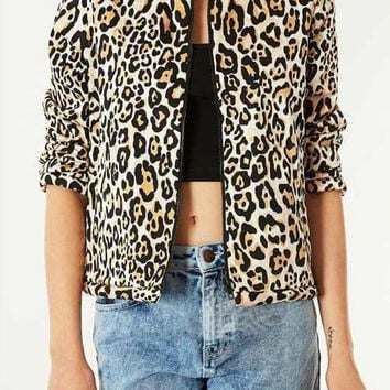 Leopard Print Long Sleeve Jacket