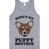 Here's My Puppy Brother-Unisex Athletic Grey Tank