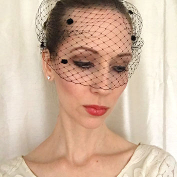 BLACK with Fuzzy Dots Birdcage Veil 9 inch Bandeau French Netting, Bridal Veil, Wedding Veil, Black Veil, Wedding Accessory, Bridesmaid Hair
