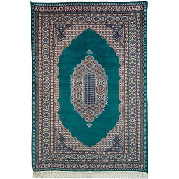 Oriental Kashmir Pak Wool and Cotton Rug, Emerald Green