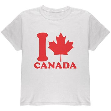 I Love Maple Leaf Heart Canada Youth T Shirt