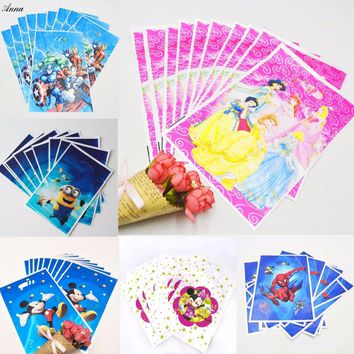 10pc/set Princess Avengers Moana Minions Trolls Birthday Party Supplies Baby Favor Decor Event Gift Bag Birthday Party