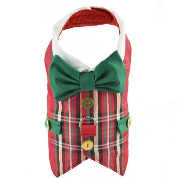 Red Plaid Dog Christmas Holiday Vest