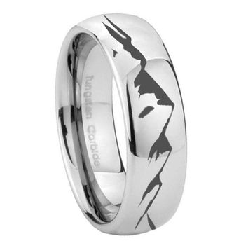 8MM Classic Mirror Dome Sound Wave I love you Tungsten Carbide Silver Engraved Ring