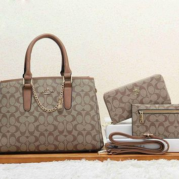 Perfect Coach Women Leather Shoulder Bag Handbag Tote Clutch Bag Cosmetic Bag Set Three-Piece