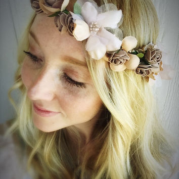 10% SALE Gold Flower crown,flower jewelry,champagne,vintage,flower headpiece,boho flower halo,bridesmaid flower crown,wedding flower crown,m